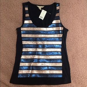 Banana Republic Navy Blue Tank Top with Sequins